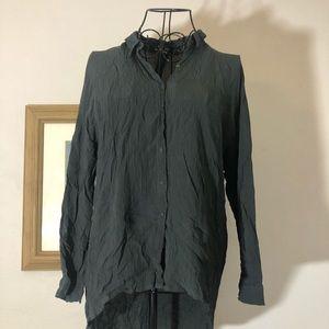 Zara Woman Medium Gray Blue crepe blouse